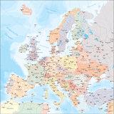 kaart van Europa  (landen en hoofdwegen)_